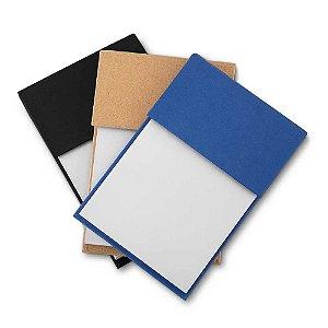 BL022 - Bloco de anotações com capa dura, sticky notes com 25 folhas em 06 cores, miolo 80 folhas sem pauta na cor branca.