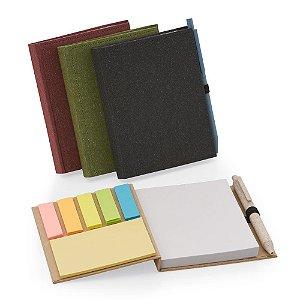BL024 - Bloco de anotações com capa dura, sticky notes e miolo sem pauta na cor branca. (NÃO ACOMPANHA CANETA).