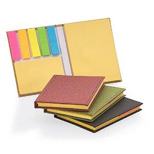 BL025 - Bloco de anotações com capa dura, sticky notes e miolo sem pauta na cor amarela.
