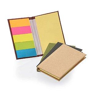 BL026 - Bloco de anotações com capa dura, sticky notes e miolo sem pauta na cor amarela.