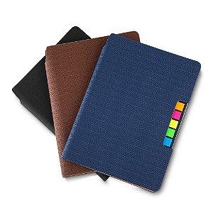 CAD100 - Caderno de anotações, com sticky notes, capa em material Sintético, miolo 80 folhas pautadas na cor bege.
