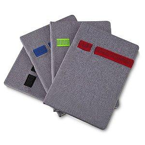 CAD120 - Caderno de anotações com elástico, suporte para celular e caneta, capa dura em material sintético, miolo 80 folhas pautadas na cor bege, (NÃO ACOMPANHA CANETA E SMARTPHONE)