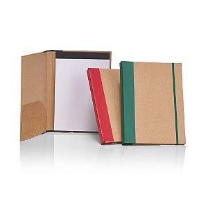 PC950 - Pasta 28 x 21 cm capa dura em papel kraft, com bloco de anotações e elástico.
