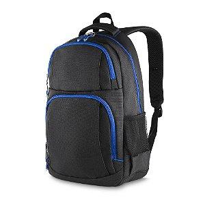 MC213-AZ - Mochila p/ notebook tecido nylon, dois bolsos na frente, dois bolsos laterais, porta notebook, porta cartões e canetas, toda forrada, alça de mão.