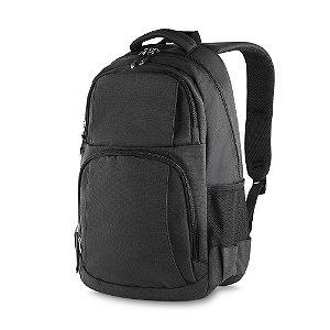 MC213-PT - Mochila p/ notebook tecido nylon, dois bolsos na frente, dois bolsos laterais, porta notebook, porta cartões e canetas, toda forrada, alça de mão.