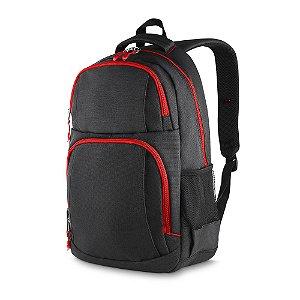 MC213-VM - Mochila p/ notebook tecido nylon, dois bolsos na frente, dois bolsos laterais, porta notebook, porta cartões e canetas, toda forrada, alça de mão.