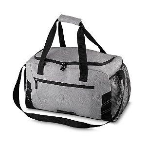 ME500 - Mala esportiva poliester, bolso com zíper frontal, bolso lateral com zíper, alça de mão,