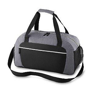 ME510 - Mala esportiva em polyester, zíper frontal, bolsos laterais, alça de mão e ombro.