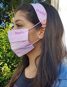 Kit Máscara de Proteção e Tiara - Poa Rosa e branco