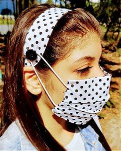 Kit Máscara de Proteção e Tiara - Poa Preto e Branco