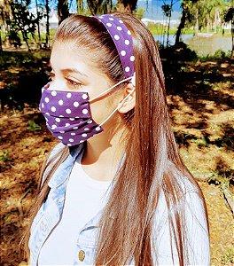 Kit Máscara de Proteção e Tiara - Poa Azul e Branco