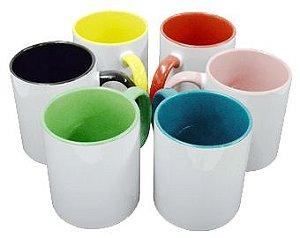 Caneca Cerâmica Interior e Alça Colorida 325 ml