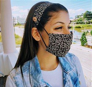 Kit Máscara de Proteção e Tiara - Preto e Beje Folhas