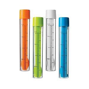 SP 34700 - Kit de coquetel Dosador/agitador com escala de medição em ml e fl oz. Capacidade: 60 ml. Incluso 2 mexedores, 1 pinça para gelo e 1 colher/garfo 2 em 1. Food grade. ø30 x 170 mm