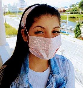 Kit Máscara de Proteção e Tiara - Rosa Bebê c/ Folhas Brancas