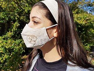 Kit Máscara 3D de Proteção e Tiara - Dupla - Tecido Linho c/ Aplique