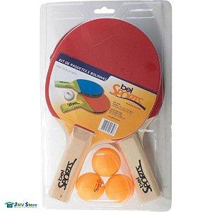db829142ed Kit 2 Raquetes 3 Bolinhas Tênis De Mesa Ping Pong Bel