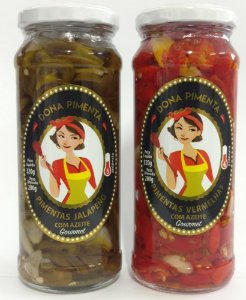 Kit Conserva de Pimentas - Jalapeno e Pimentas Vermelhas (Malagueta e Dedo de Moça) Laminadas Com Azeite 320g