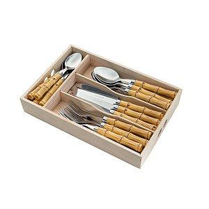 Faqueiro 24 Peças Inox Cabo Plástico Bambú 35354
