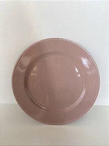 Sousplat para Chá Plástico Rosa Matt 25cm 61137