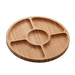 Petisqueira com 5 Divisórias de Bambú Round 25cm 1348