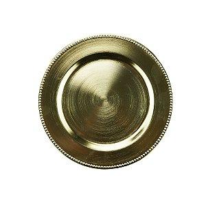 Sousplat para Chá Plástico Dourado 25cm 61140