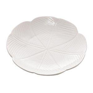 Travessa Cerâmica Banana Leaf Branco Pequeno 16cm 4521