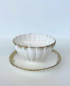 Jogo Bowl e Prato 2 Peças Sobremesa Cerâmica Canelado Borda Dourada