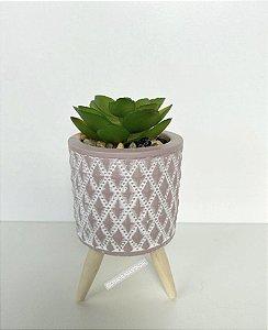 Mini Vaso  Pequeno Concreto Com Suculenta e Suporte Madeira Rosa