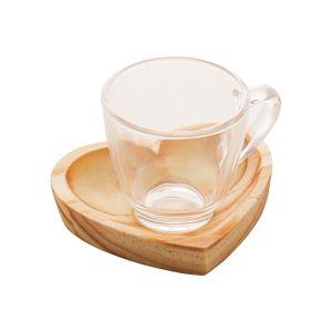 Jogo 6 Xícaras Café com Pires Coração Madeira Pinus Rústica 75ml 13472