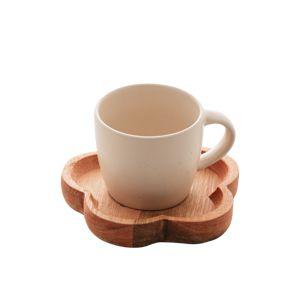 Jogo 4 Canecas para Café com Pires De Madeira Rústica Marfim 13436