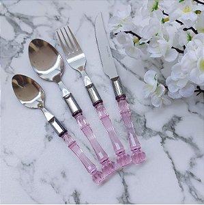 Faqueiro 24 Peças Inox Cabo Plástico Bambu Rosa