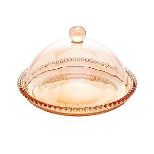 Queijeira Cristal Pearl Bolinhas Âmbar 20x12cm 28269