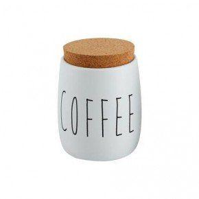 Porta Mantimentos Oak Branco Metal Coffee com Tampa de Cortiça 850ml