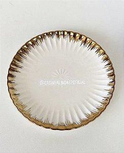 Prato Pequeno Canelado Cerâmica Borda Dourada 15cm