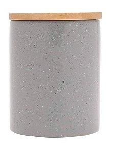 Potiche Cerâmica Granilite com Tampa Bambu Cinza 13cm 8676