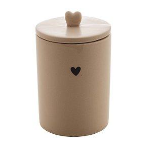 Potiche Cerâmica Heart Bege 15cm 8678