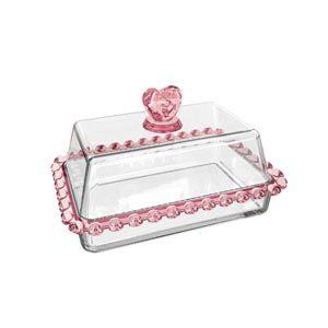 Manteigueira Cristal Coração Borda Rosa 17cm  1714