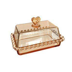 Manteigueira Cristal Tampa e Borda Coração Âmbar  17cm 1725