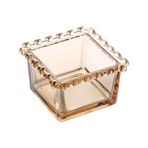 Bowl Quadrado de Cristal Borda Coração Âmbar 1718