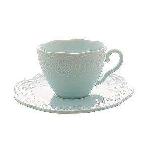 Xícara para Café com Pires Butterfly Azul 120ml Unidade