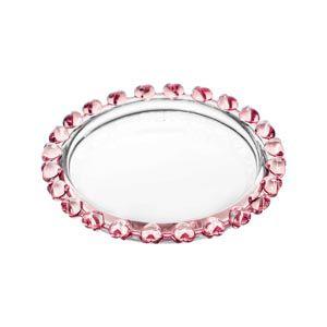 Mini Prato Pires de Cristal Coração Borda Rosa 9,5cm 1708