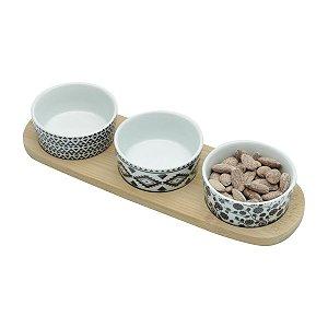 Conjunto Bandeja de Bambú com 3 Petisqueiras de Ceramica 7160