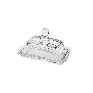 Manteigueira  de Cristal Pearl Bolinhas 14x9x10cm 26755