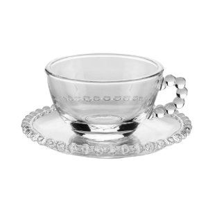 Jogo 4 Xícaras de Chá com Pires de Cristal Pearl Bolinhas 180ml 27900