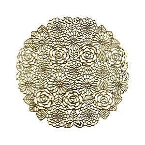 Lugar Americano Plástico Flowers Dourado 38cm 7878