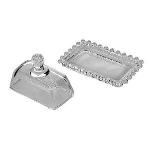 Mini Mantegueira de Cristal Pearl Bolinhas 11x7cm 27898
