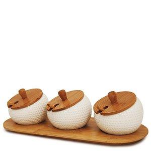 Porta Temperos 03 Potes Ceramica e Colher Bandeja Bambu 147