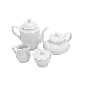 Conjunto 4 Peças Porcelana Para Chá E Café Alto Relevo 25094