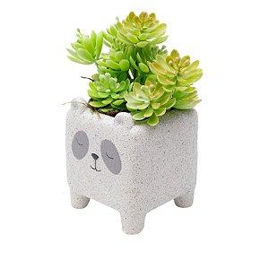 Cachepot Peq Concreto Sleeping Panda Cinza 8x8x10cm 44183